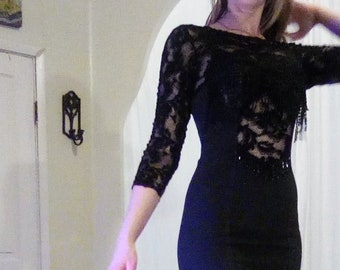 515f23f25d54 Vintage Dress Made In USA by Joy Fringe Beaded Lace Sexy Cross Dress Fitted FREE  SHIPPING Size Large Fit like Medium