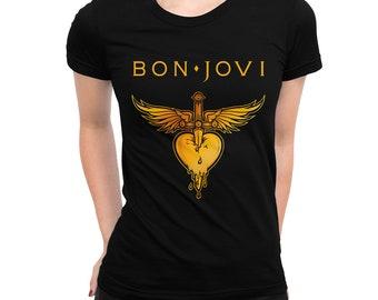 aac8bff3d Bon Jovi Heart & Dagger T-Shirt, Men's Women's All Sizes