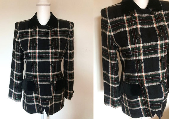 90s Double Breasted Check Jacket