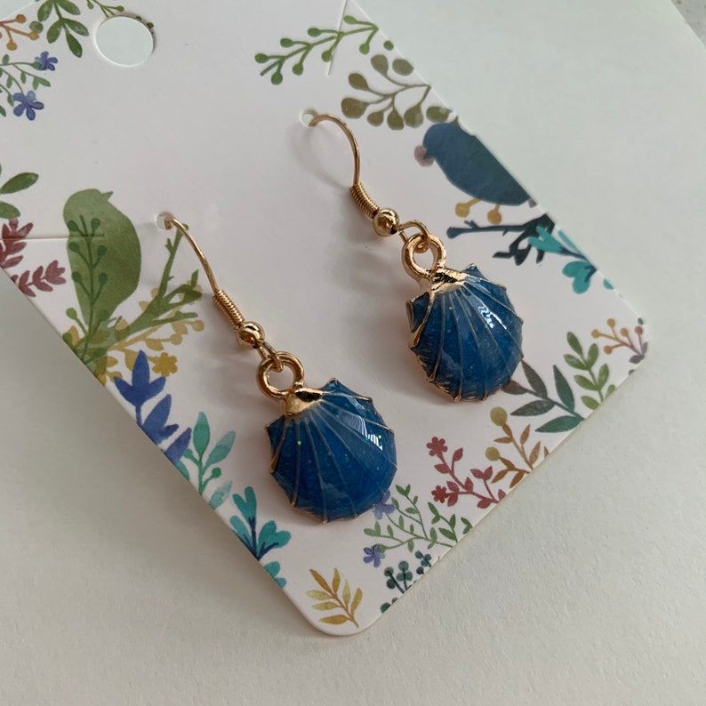 Blue and rose gold clam shell hanging earrings rose gold fishhook glitter sparkle handmade