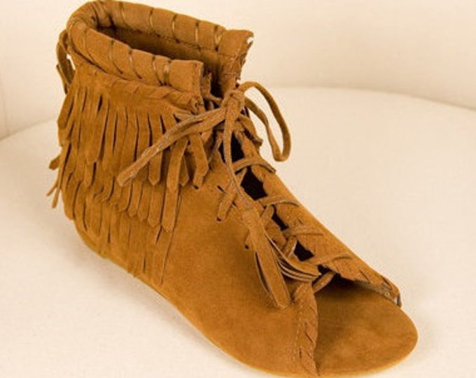 Moccasin-inspired Tasseled/Fringed Open-toed Lace-up Boho Ankle Boots