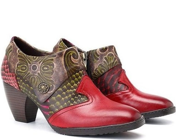 Hand-painted Leather Splicing Foliage & Snakeskin-patterned Curved-heel Zippered Boho Pumps