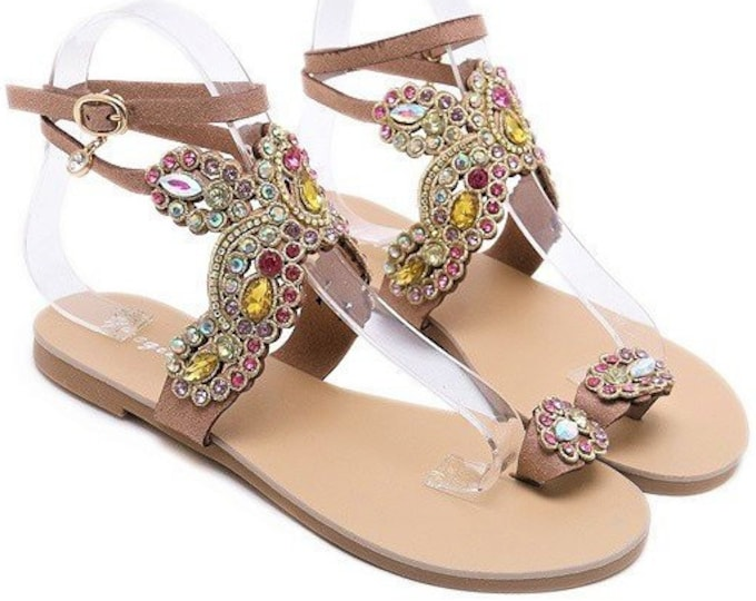 Women's Roman Ankle-strapped Toe-ring/Glove Sandals with Rhinestone-encrusted Facia in Coiled Wire Settings (Faux Leather)