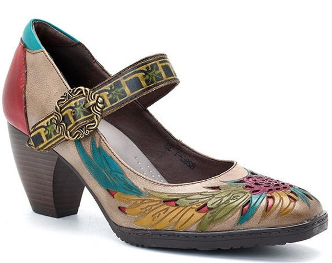 Hand-painted Embossed Leather Buckled Curved-heeled Mary Jane Boho Pumps with Cascading Feather Motif