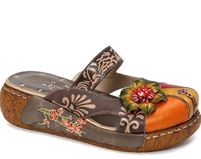 Hand-painted Backless Strapped Boho Mules/Flats/Sandals Adorned with 3-D Leather Roses (available in Gray, Red or Grass Green)