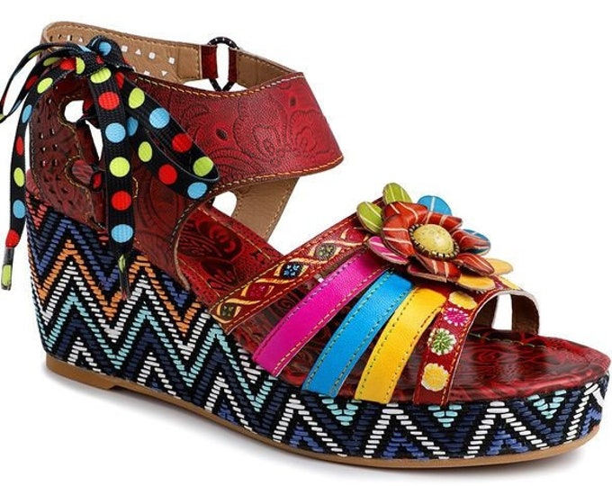 Handmade Hand-painted Rose-embossed Leather Side-lacing Ankle-strapped Boho Peep-toed Wedge Sandals with Central 3-D Flower & Inset Stone