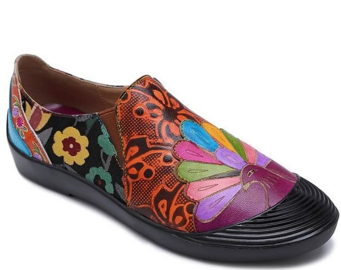Hand-painted Embossed Leather/Jacquard Splicing Floral & Peacock-themed Comfort Zippered Flats/Slippers