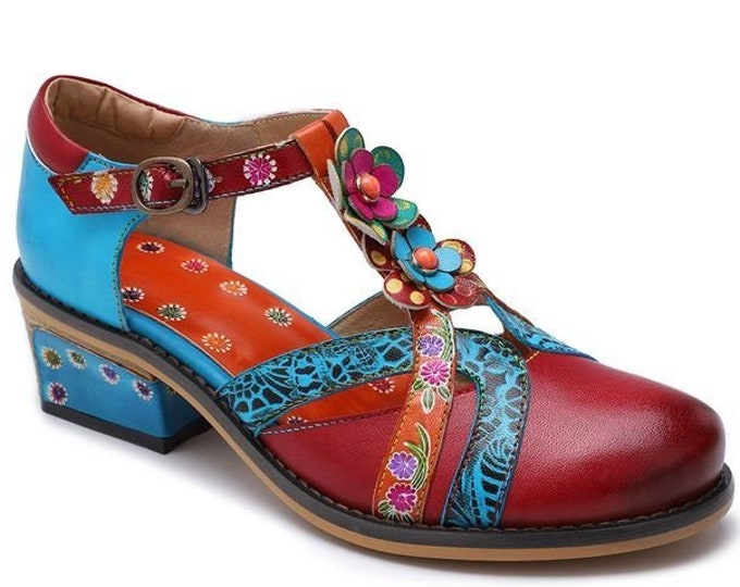 Handmade Embossed Leather Stacked-heeled T-strapped Buckled Boho Pumps with 3-D Flowers and Stones in Metal Settings
