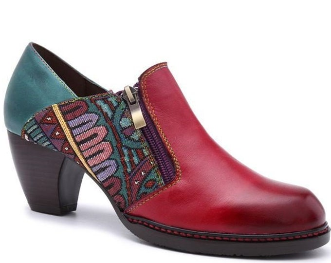 Handmade Hand-rubbed Color Leather & Tribal-design Jacquard Fabric Splicing Curved-heeled Dual-zippered Boho Pumps