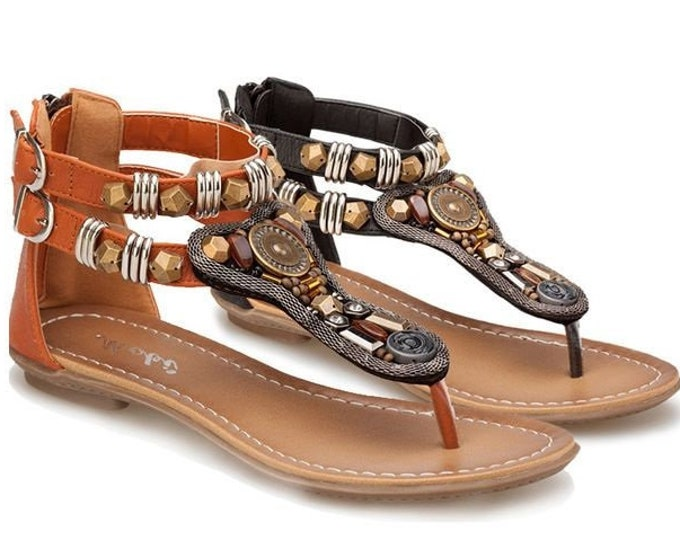 Women's Roman Double-ankle-strapped Sandals with Serpentine Coiling Vamp Facia, Medallion, Multi-faceted Metal & Resin Beads and Rhinestones