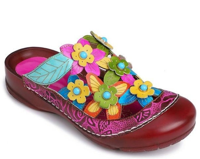 Handmade Handpainted Floral-embossed Leather Adjustable-strap Backless Round-toed Boho Sandals with 3-D & Cut-out Flowers with Stone Centers