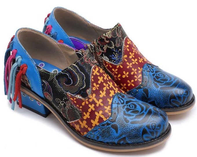 Hand-painted Embossed Fringe-tasseled Leather Zippered Boho Wingtip Shoes with Floral-embroidered Fabric Overlay