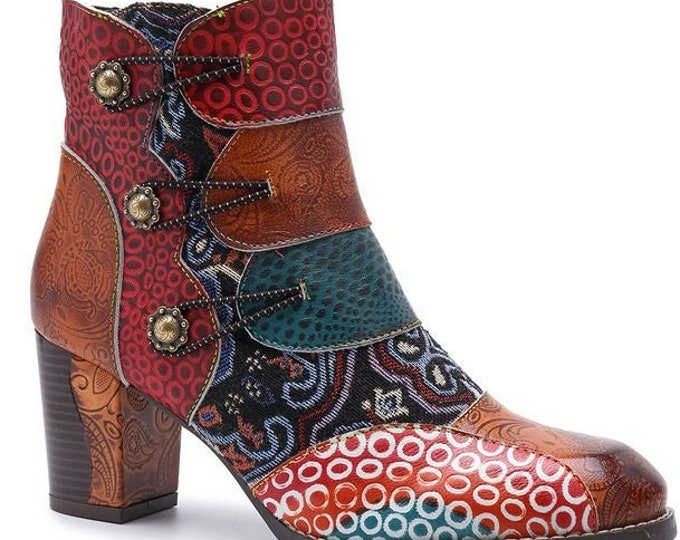 Handmade Paisley-embossed Zippered Boho Ankle Boots with Scale-plated Leather Vamp, Metal Buttons & Jacquard Fabric Overlay