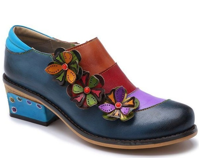 Hand-painted Leather Splicing Block-heeled Zippered Shoes with Multicolored Vamp Banding & 3-D Flowers with Stone Centers