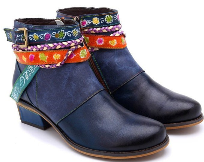 Handmade Hand-rubbed Blue Leather Zippered Boho Cowgirl Ankle Boots with Braided Cord, Strap, Belt & Adjustable Buckle and Floral Accents
