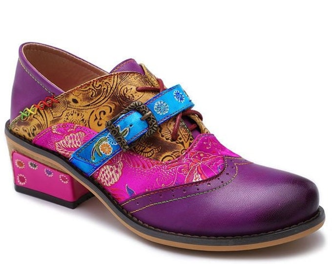 Handmade Embossed Leather Splicing Oxford/Mary Jane-hybrid Wingtip Boho Shoes with Embroidered Cloth Overlay, Strap & Buckle