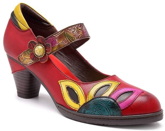 Handmade Leather Splicing Tapered-heeled Mary Jane Pumps with Flower and Petals Motif