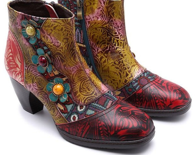 Handmade Embossed Leather Curved-heeled Ankle Boots with Jacquard Splicing and 3-D Flowers with Inset Colored Stones