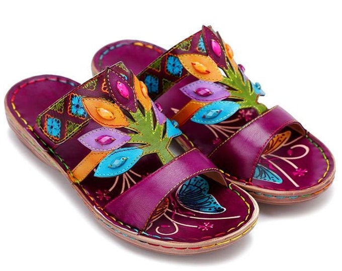 Handmade Handpainted Sheepskin Leather Adjustable-strap Backless Boho Sandals with Cut-out Tree & Leaves Vamp Motif beset with Gemstones