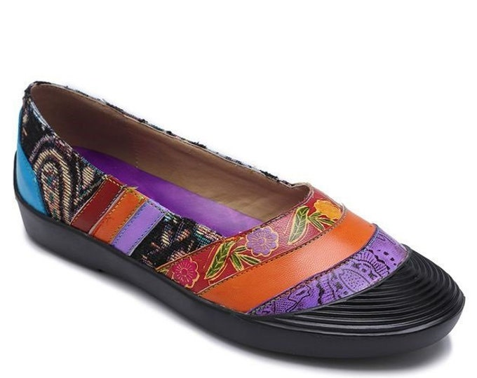 Hand-painted Leather/Jacquard Splicing Floral-patterned Comfort Slip-on Flats/Slippers