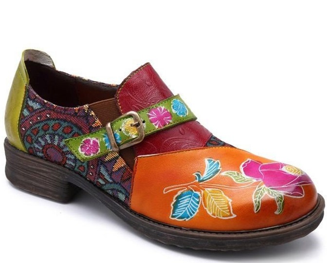 Hand-painted Rose-themed Embossed Leather/Tribal-pattern Jacquard Splicing Low-heeled Zippered & Buckled Boho Shoes