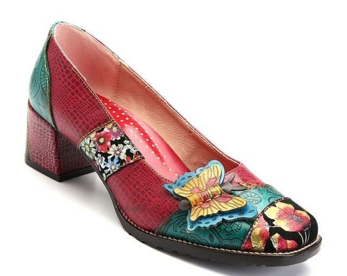Handmade Floral, Paisley, Reptilian-texture-embossed Leather Pumps adorned with 3-D Leather Butterfly & Floral-painted Fabric Overlay