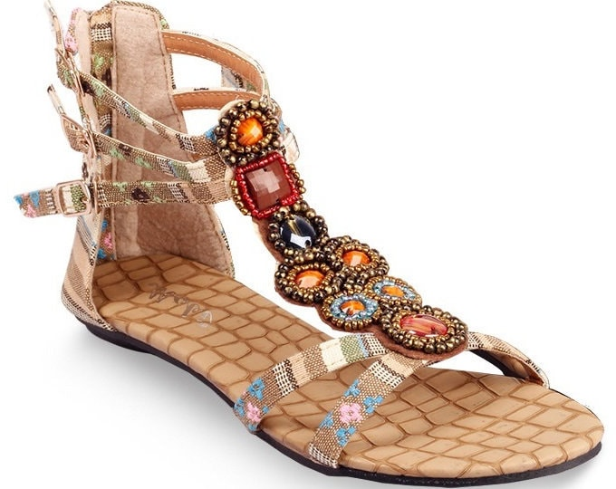 Bohemian Ankle-wrapping Rear-zippered Sandals with Jacquard Fabric, Buckles and Colored Stones in Metal Settings