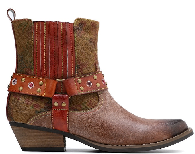 2020 Handmade Leather & Dyed Denim Zippered Pointy-toed Stacked-heeled Cowgirl Ankle Boots with Riveted Straps and Harness Ring