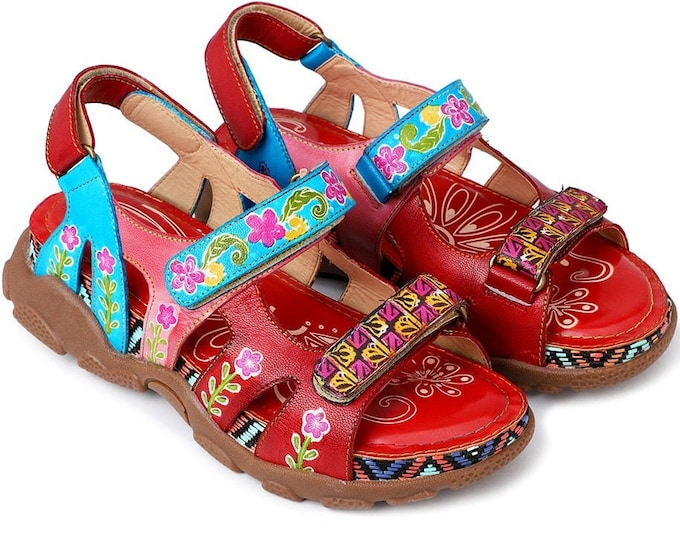 Handmade Handpainted Floral-designed Adjustable-strapped Boho Peep-toed Wedge Sport Sandals