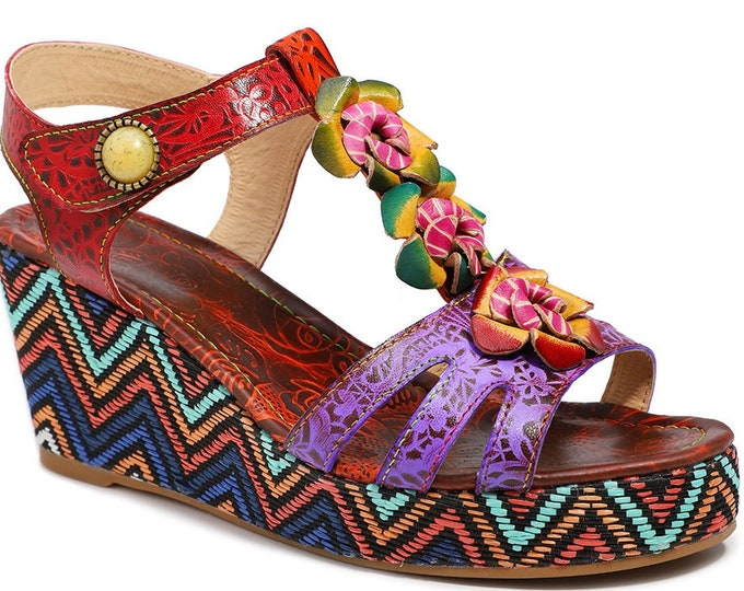 Handmade Handpainted Rose-embossed Leather Adjustable-T-strapped Boho Peep-toed Wedge Sandals with 3-D Flowers and Inset Stone