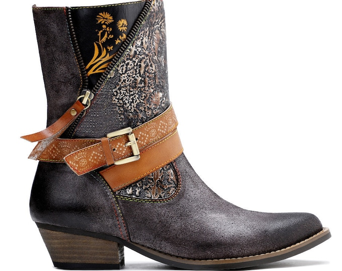 "2020 Handmade Leather & Textured Denim Zippered Pointy-toed Stacked-heeled ""Unzipped"" Cowgirl Ankle Boots with Buckled Strap"