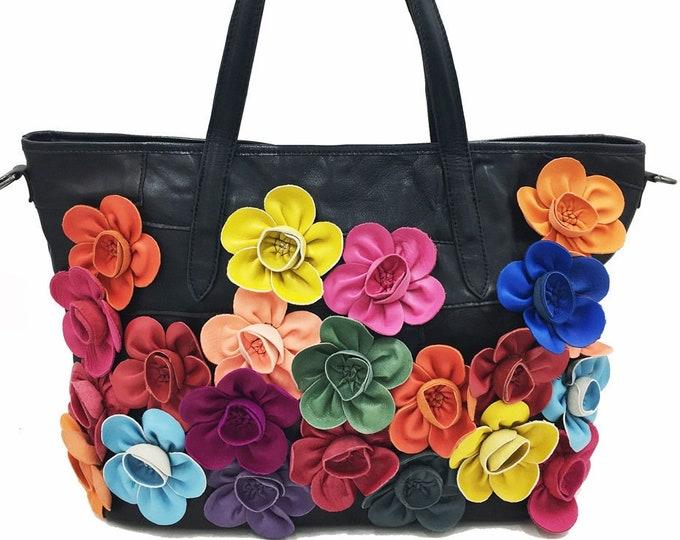 Sheepskin Leather Boho Shoulder Bag/Handbag adorned with Large 3-D Leather (Solid-colored, Multi-colored OR Black) Flowers