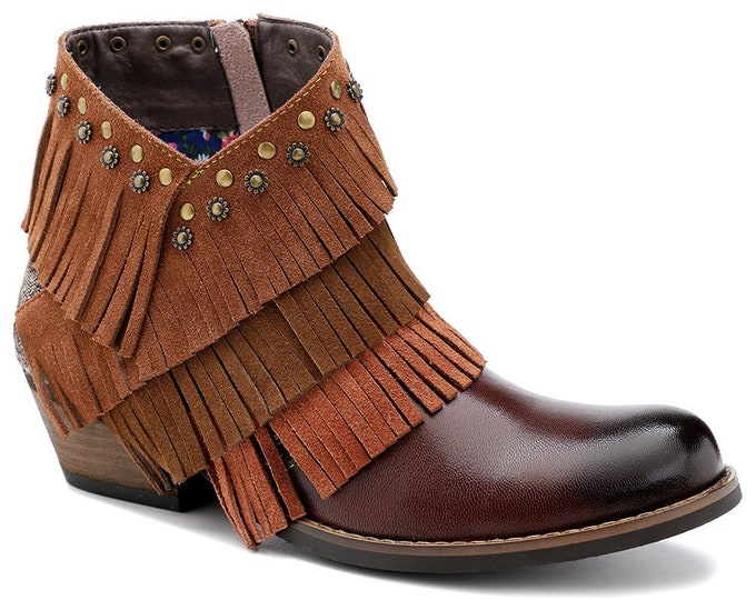 2020 Handmade Leather & Jacquard Stacked-heeled Zippered Cowgirl Ankle Boots with Cascading Fringe Layers and Floral Studs