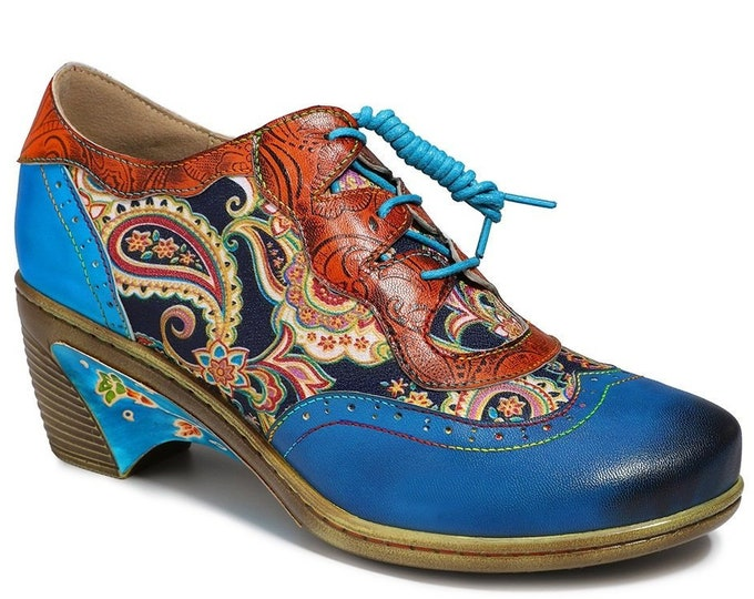 Hand-rubbed Color Leather/Ornate Paisley-printed Cloth Splicing Lace-up Boho Oxford Wingtip Shoes with Decorative Heel Flanges