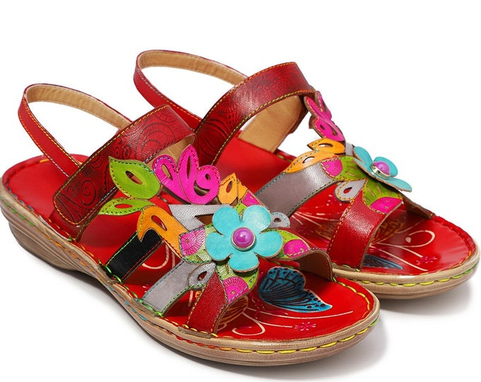 Handmade Paisley-embossed Leather Adjustable-strap Boho Sandals with 3-D & Cut-out Flowers