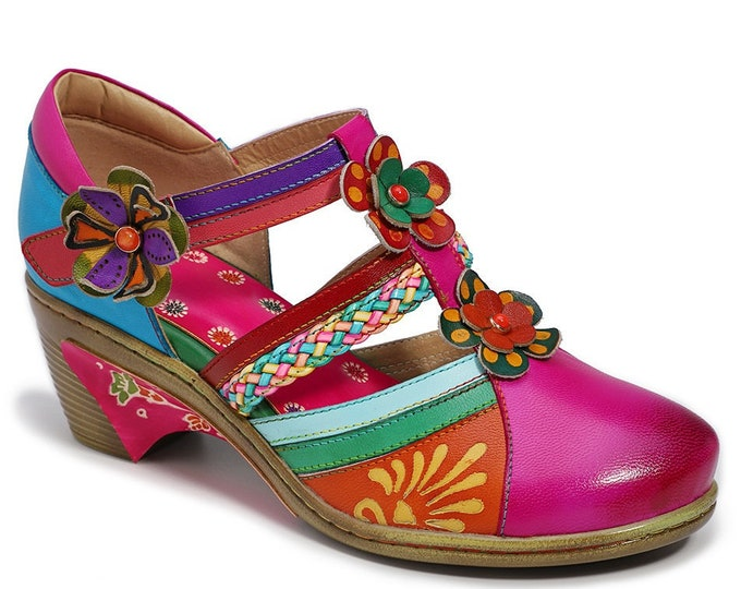 Handmade Hand-painted Leather Double-T-strapped Boho Pumps with Heel Flanges & 3-D Flowers with Colored Stone Centers in Metal Settings
