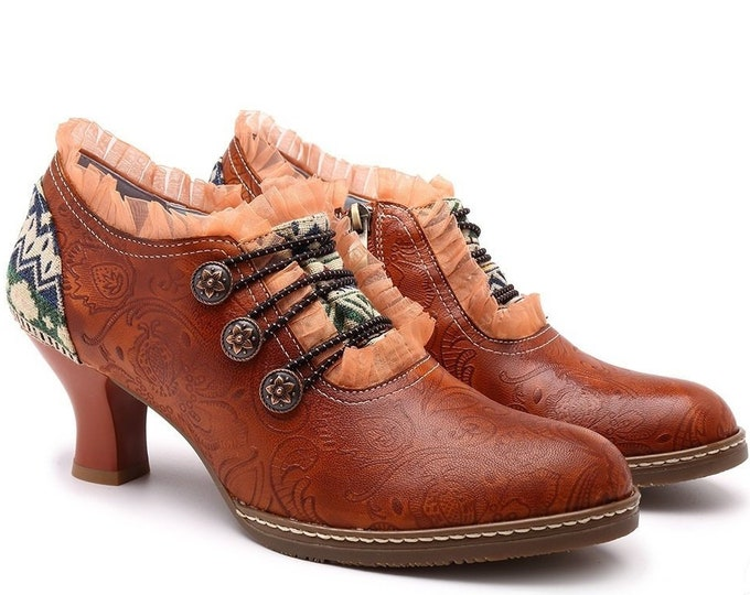 Retro Vintage Spanish-style Pumps: Flamenco Garrucha Curved Heels, Zippered, Buttons, Lace, Embossed Paisleys & Jacquard Fabric Heel Overlay