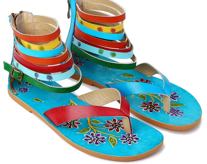Handmade Handpainted Leather Zippered-heeled Flip-flop Style Boho Sandals with Multi-banded & Buckled Ankle Straps