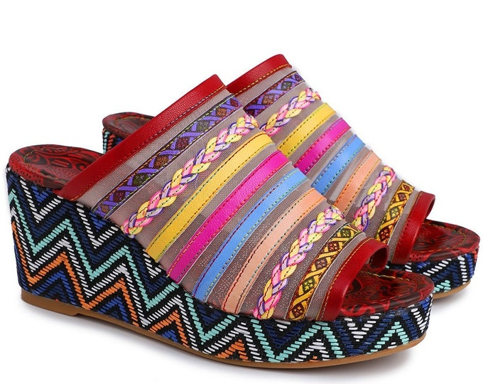 Handmade Hand-painted Rose-embossed Leather Boho Peep-toed Wedge Sandals with Mesh Screen Vamp with Multi-colored & Braided Banding
