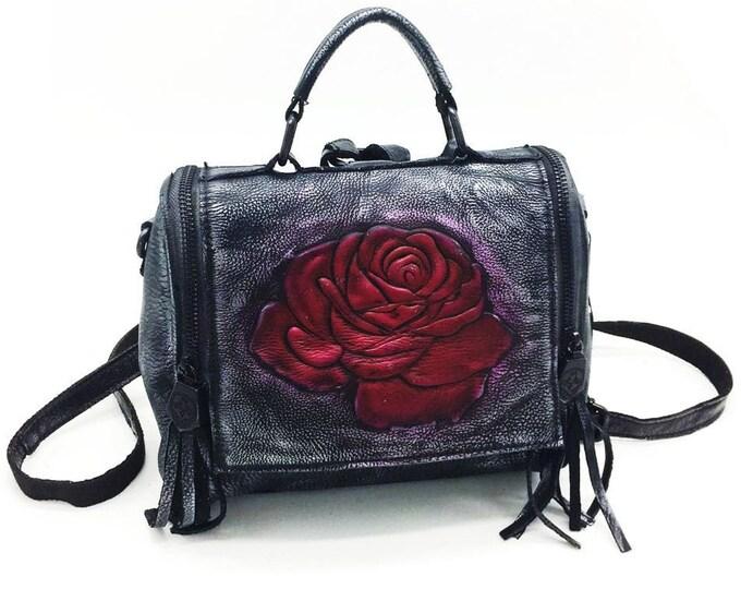 Hand-rubbed Color Rose-embossed & Tasseled Silvered Black Leather Retro/Vintage Satchel Messenger Bag with Backstraps