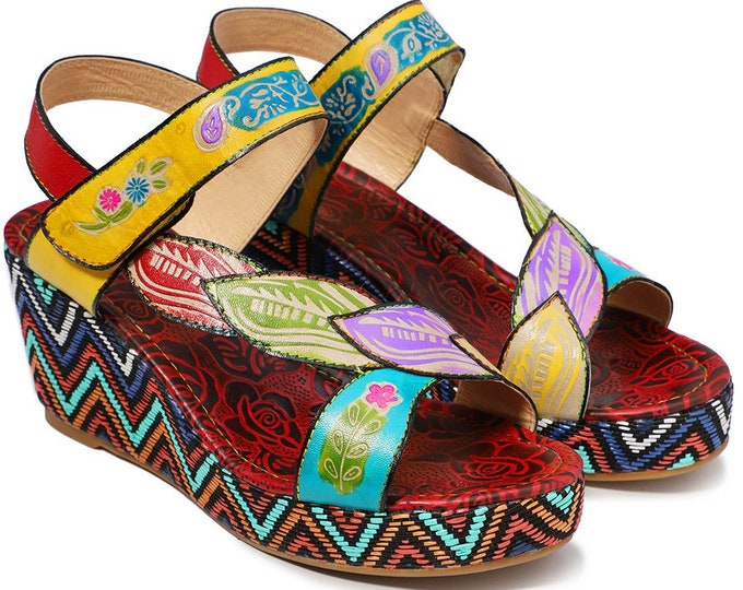 Handmade Hand-painted Rose-embossed Leather Adjustable-strapped Boho Peep-toed Wedge Sandals with Diagonal Leaf-patterned Vamp Overstrap