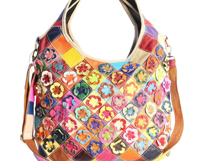 Multicolored Leather Boho Handbag/Shoulder Bag with Integrated Handle, Patchwork Pattern Adorned with 3-D Leather Flowers