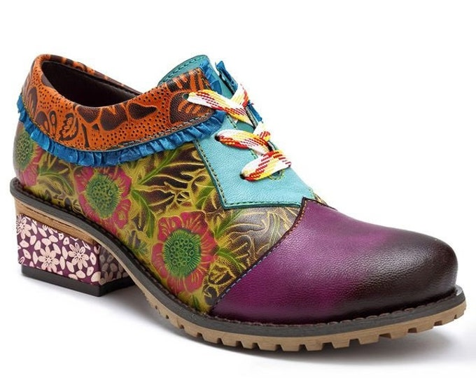 Hand-painted Green & Purple Floral-embossed Leather Lace-up Boho Oxford Wingtip Shoes with Lace Ankle Trim