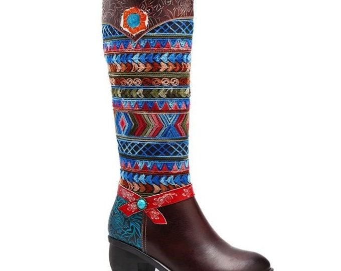 Handmade Embossed Leather Zippered Boho Cowgirl Boots with Geometric Embroidered Yarn Design on Denim Overlay