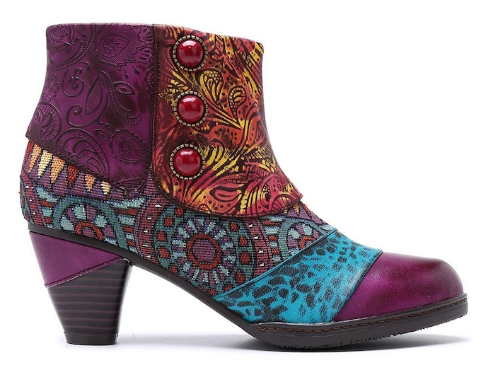 Handmade Embossed Leather/Jacquard Splicing Spats-style Zippered Boho Ankle Boots
