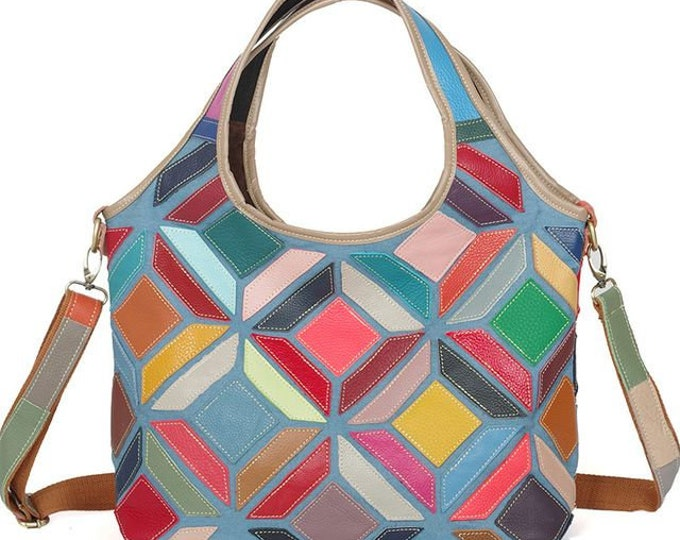 Multicolored Geometric Patchwork-patterned Leather Boho Bucket Handbag/Shoulder Bag with Integrated Handle