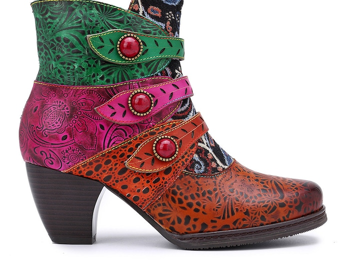 2020 Handmade Floral-embossed Zippered Ankle Boots with Triple Leaf-shaped Straps with Stones in Metal Settings & Jacquard Fabric Splicing