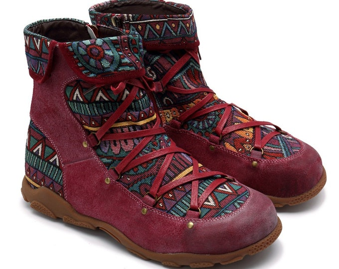 Handmade Hand-rubbed Color Leather Zippered Boho Ankle Boots with Tribal-pattern Jacquard Splicing