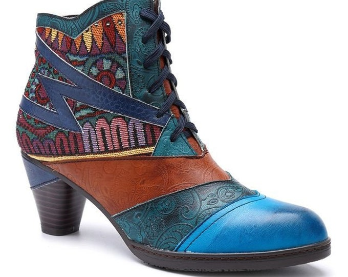 Handmade Paisley-embossed Leather/Tribal-patterned Jacquard Splicing Curved-heeled Zig-zag-striped Zippered Boho Ankle Boots