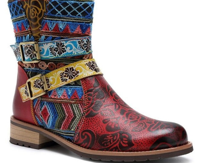 Handmade Rose-embossed Leather & Geometric-pattern-embroidered Denim Dual-buckled Zippered Boho Ankle Boots